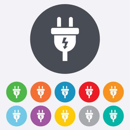 unplugged: Icono de signo de enchufe el�ctrico. S�mbolo de la energ�a de alimentaci�n. Signo de rel�mpago. Ronda de colores 11 botones. Vector Vectores