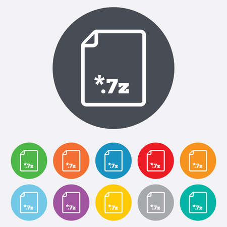 zipped: Archive file icon. Download compressed file button. 7z zipped file extension symbol. Round colourful 11 buttons. Vector