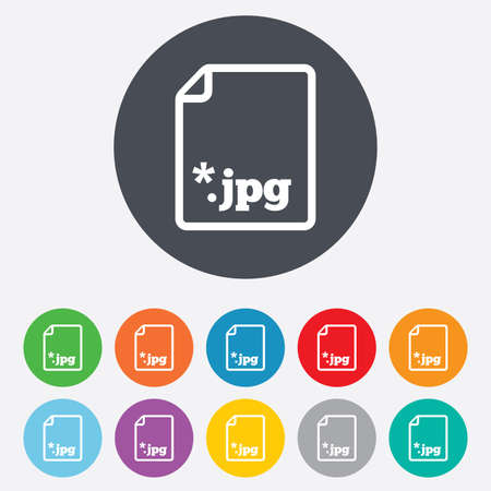 mime: File JPG sign icon. Download image file symbol. Round colourful 11 buttons. Vector