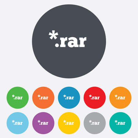 rar: Archive file icon. Download compressed file button. RAR zipped file extension symbol. Round colourful 11 buttons. Vector