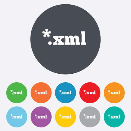 extensible: File document icon. Download XML button. XML file extension symbol. Round colourful 11 buttons. Vector Illustration