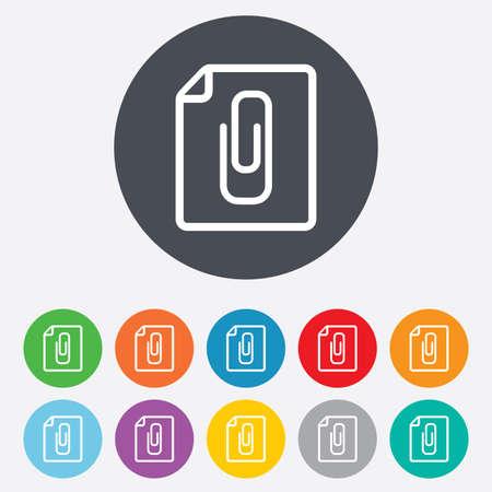 appendix: File annex icon. Paper clip symbol. Attach symbol. Round colourful 11 buttons. Vector