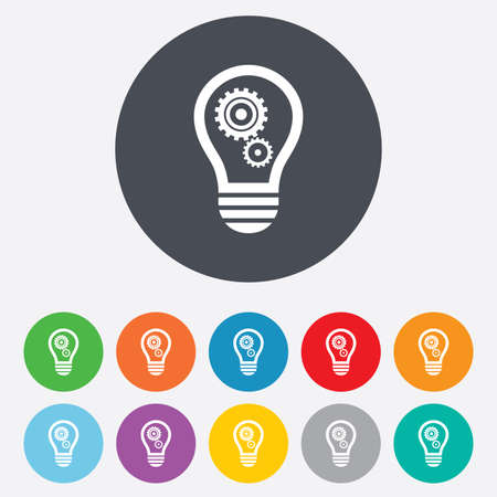 Light lamp sign icon. Bulb with gears and cogs symbol. Idea symbol. Round colourful 11 buttons. Vector Vector