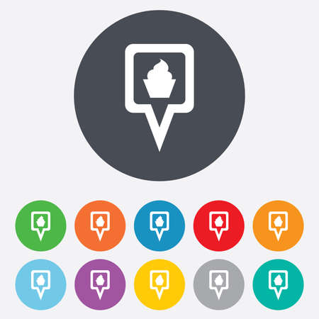 Map pointer food sign icon. Restaurant location marker symbol. Round colourful 11 buttons. Vector Vector