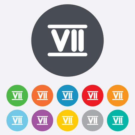 Roman numeral seven sign icon. Roman number seven symbol. Round colourful 11 buttons. Vector Vector