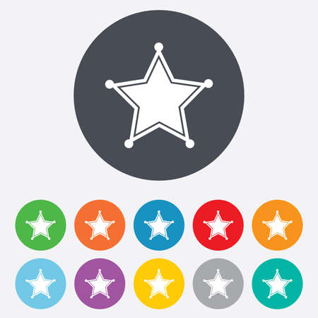 Star Sheriff sign icon. Police button. Sheriff symbol. Round colourful 11 buttons. Vector Vector