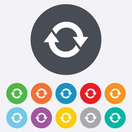opfrissen: Rotatie icoon. Herhaal symbool. Vernieuwen teken. Ronde kleurrijke 11 toetsen. Vector