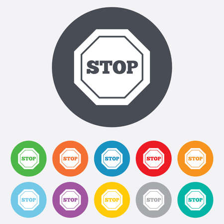 Traffic stop sign icon. Caution symbol. Round colourful 11 buttons. Vector Vector