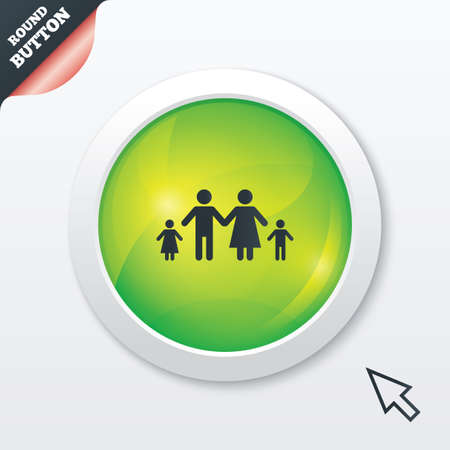 family with two children: Family with two children sign icon. Complete family symbol. Green shiny button. Modern UI website button with mouse cursor pointer. Vector Illustration