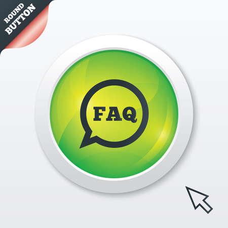FAQ information sign icon. Help speech bubble symbol. Green shiny button. Modern UI website button with mouse cursor pointer. Vector Vector