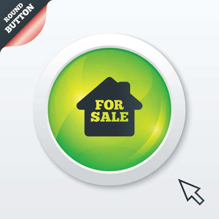 for sale sign: For sale sign icon. Real estate selling. Green shiny button. Modern UI website button with mouse cursor pointer. Vector