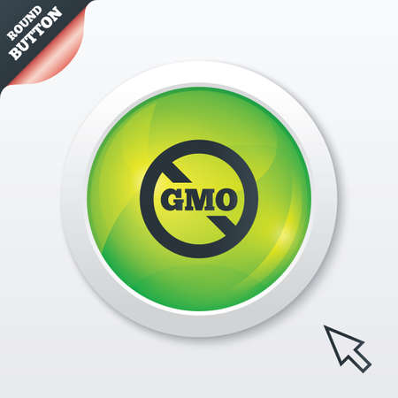 genetically: No GMO sign icon. Without Genetically modified food. Stop GMO. Green shiny button. Modern UI website button with mouse cursor pointer. Vector Illustration