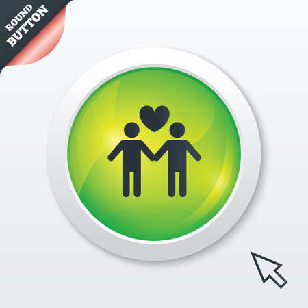 Couple sign icon. Male love male. Gays with heart. Green shiny button. Modern UI website button with mouse cursor pointer. Vector Vector