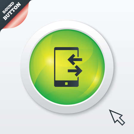 outcoming: Incoming and outcoming calls sign icon. Smartphone symbol. Green shiny button. Modern UI website button with mouse cursor pointer. Vector Illustration