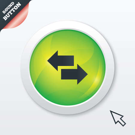 outgoing: Incoming and outgoing calls sign. Upload. Download arrow symbol. Green shiny button. Modern UI website button with mouse cursor pointer. Vector Illustration