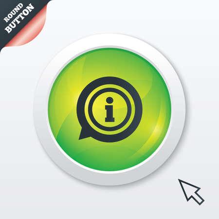 Information sign icon. Info speech bubble symbol. Green shiny button. Modern UI website button with mouse cursor pointer. Vector Vector
