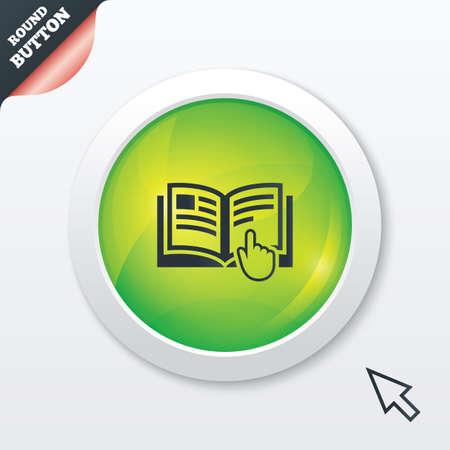 instru��o: Ícone do sinal de instruções. Símbolo livro Manual. Leia antes de usar. Brilhante botão verde. Botão site UI moderno com ponteiro cursor do mouse. Vetor