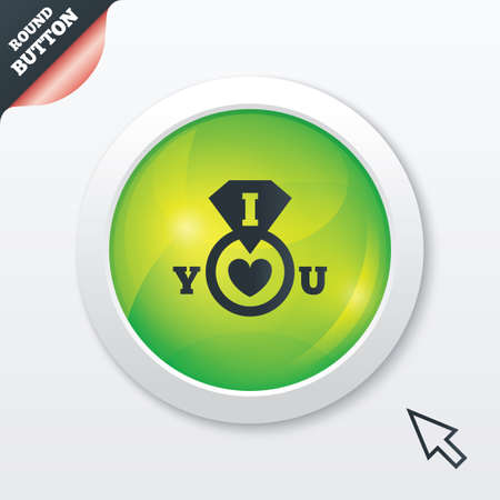 i love you sign: I Love you sign icon. Valentines day symbol. Green shiny button. Modern UI website button with mouse cursor pointer. Vector Illustration