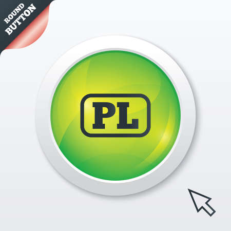 pl: Polish language sign icon. PL translation symbol with frame. Green shiny button. Modern UI website button with mouse cursor pointer. Vector