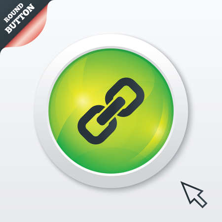 hyperlink: Link sign icon. Hyperlink chain symbol. Green shiny button. Modern UI website button with mouse cursor pointer. Vector Illustration
