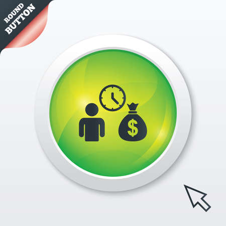 fast money: Bank loans sign icon. Get money fast symbol. Borrow money. Green shiny button. Modern UI website button with mouse cursor pointer. Vector