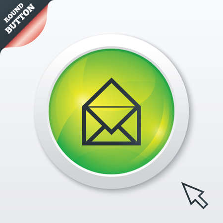 Mail icon. Envelope symbol. Message sign. Mail navigation button. Green shiny button. Modern UI website button with mouse cursor pointer. Vector Vector