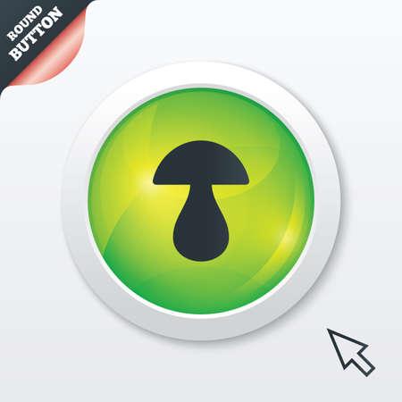 button mushroom: Mushroom sign icon. Boletus mushroom symbol. Green shiny button. Modern UI website button with mouse cursor pointer. Vector Illustration