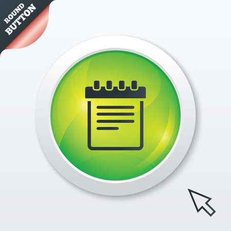 Notepad sign icon. Paper notebook symbol. Green shiny button. Modern UI website button with mouse cursor pointer. Vector Vector