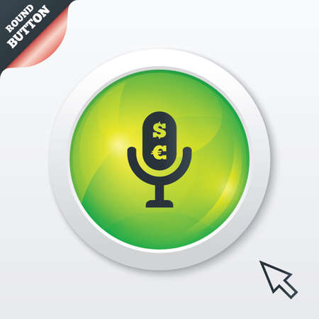 usr: Microphone icon. Speaker symbol. Paid music sign. Green shiny button. Modern UI website button with mouse cursor pointer. Vector Illustration