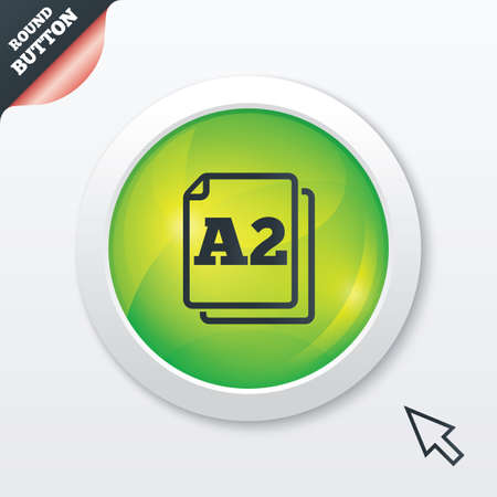 a2: Paper size A2 standard icon. File document symbol. Green shiny button. Modern UI website button with mouse cursor pointer. Vector Illustration