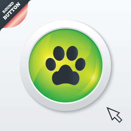 Dog paw sign icon. Pets symbol. Green shiny button. Modern UI website button with mouse cursor pointer. Vector