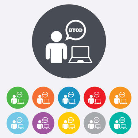 BYOD sign icon. Bring your own device symbol. User with laptop and speech bubble. Round colourful 11 buttons. photo