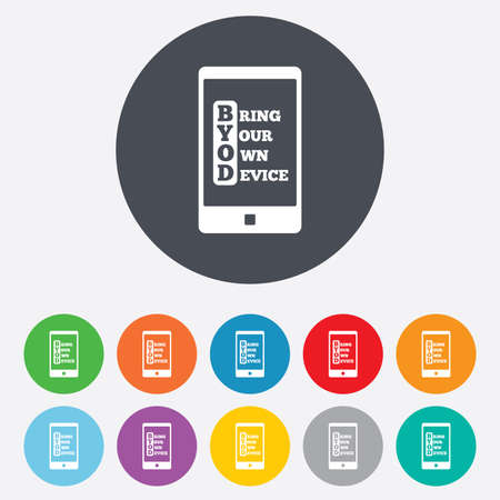 BYOD sign icon. Bring your own device symbol. Smartphone icon. Round colourful 11 buttons. Stock Photo - 26871778
