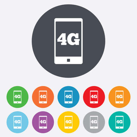 4G sign icon. Mobile telecommunications technology symbol. Round colourful 11 buttons. photo