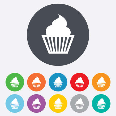 Muffin sign icon. Cupcake symbol. Round colourful 11 buttons. photo