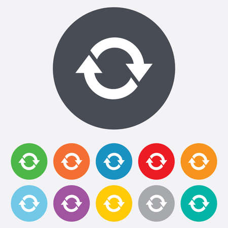 Rotation icon. Repeat symbol. Refresh sign. Round colourful 11 buttons.