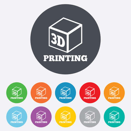 additive manufacturing: 3D Print sign icon. 3d cube Printing symbol. Additive manufacturing. Round colourful 11 buttons.