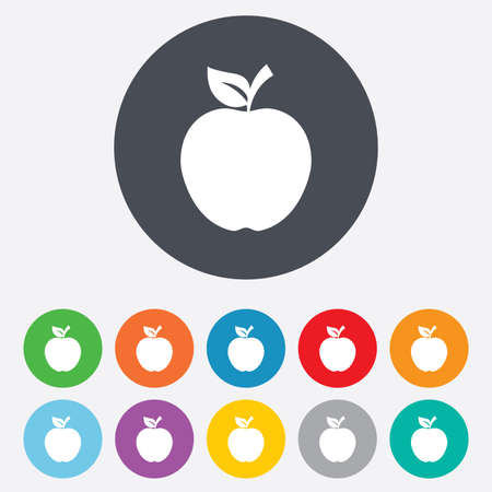 Apple sign icon. Fruit with leaf symbol. Round colourful 11 buttons. photo