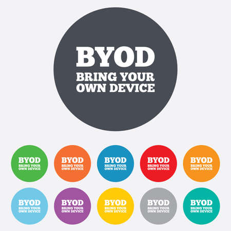 BYOD sign icon. Bring your own device symbol. Round colourful 11 buttons. Stock Photo - 26843232