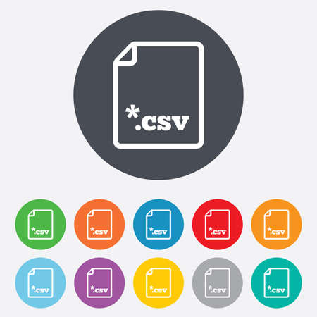 csv: File document icon. Download tabular data file button. CSV file extension symbol. Round colourful 11 buttons. Stock Photo