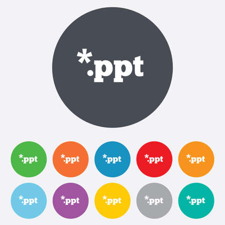 ppt: File presentation icon. Download PPT button. PPT file extension symbol. Round colourful 11 buttons.