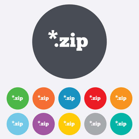 file extension: Archive file icon. Download compressed file button. ZIP zipped file extension symbol. Round colourful 11 buttons. Stock Photo