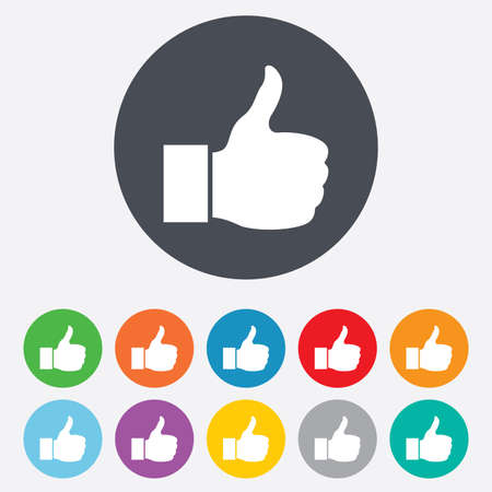 Like sign icon. Thumb up sign. Hand finger up symbol. Round colourful 11 buttons. photo