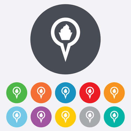 Map pointer food sign icon. Restaurant location marker symbol. Round colourful 11 buttons. photo