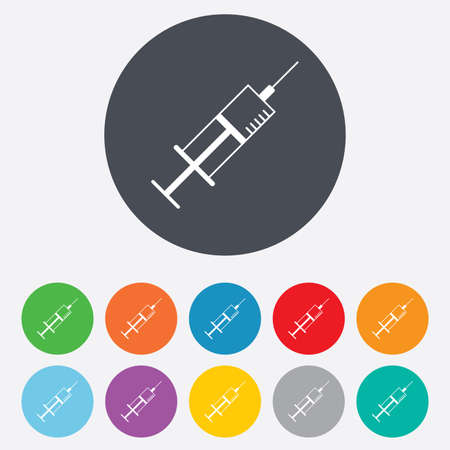 Syringe sign icon. Medicine symbol. Round colourful 11 buttons. photo