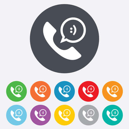 Phone sign icon. Support symbol. Call center. Speech bubble with smile. Round colourful 11 buttons. photo