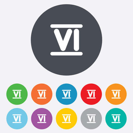 Roman numeral six sign icon. Roman number six symbol. Round colourful 11 buttons. photo