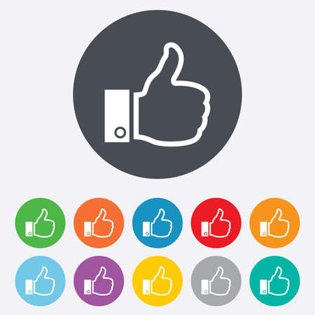 like icon: Like sign icon. Thumb up sign. Hand finger up symbol. Round colourful 11 buttons. Vector Illustration