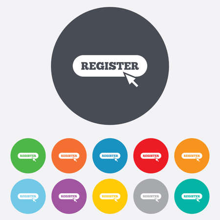 registration mark: Register with cursor pointer sign icon. Membership symbol. Website navigation. Round colourful 11 buttons. Vector
