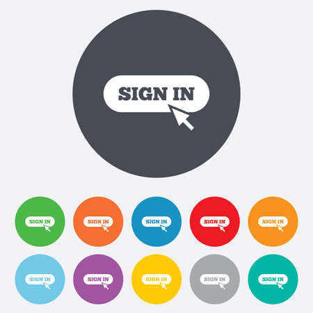 Sign in with cursor pointer sign icon. Login symbol. Website navigation. Round colourful 11 buttons. Vector Vector